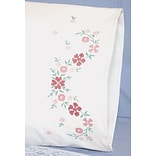 Fairway 83289 White 30 x 20 Small Flower Stamped Perle Edge Pillowcases, 2/Pack