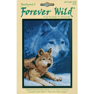 Janlynn 13-0309 Multicolor 7 x 5 Counted Cross Stitch Kit, Forever Wildlife Wolf Mini