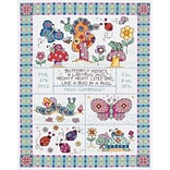Janlynn 21-1417 Multicolor 12.75 x 9.75 Bug In A Rug Sampler Counted Cross Stitch Kit