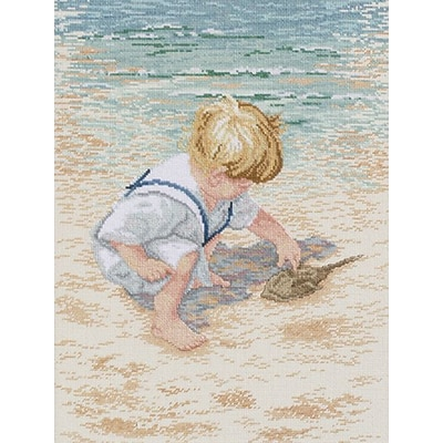 Janlynn 29-0047 Multicolor 16 x 12 Boy With Horseshoe Crab Counted Cross Stitch Kit