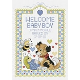 Janlynn 80-0469 Multicolor 10 x 7 Welcome Baby Boy Sampler Counted Cross Stitch Kit