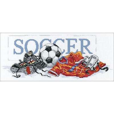 Janlynn 87-0057 Multicolor 7 x 16 Soccer Counted Cross Stitch Kit
