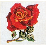 Thea Gouverneur TG817 5.13 x 5.13 Rose On Linen Counted Cross Stitch Kit, Red