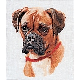 Thea Gouverneur TG933 White 10.63 x 8.75 Boxer On Linen Counted Cross Stitch Kit