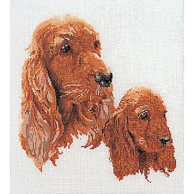 Thea Gouverneur TG936 White 15.75 x 11.75 Spaniels On Linen Counted Cross Stitch Kit