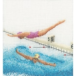 Thea Gouverneur TG3036 Multicolor 6.75 x 6.25 Counted Cross Stitch Kit, Swimming