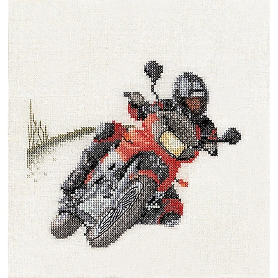Thea Gouverneur TG3054 Multicolor 6.75 x 6.25 Counted Cross Stitch Kit, Motorcyclist