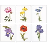 Thea Gouverneur TG3085 Multicolor 8x6.75 Floral Studies 5 On Aida Counted Cross Stitch Kit, 6/Set