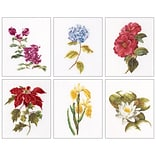 Thea Gouverneur TG3087 Multicolor 8x6.75 Floral Studies 7 On Aida Counted Cross Stitch Kit, 6/Set