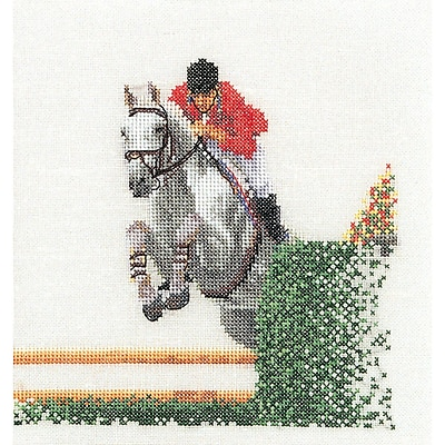Thea Gouverneur TG3090 Multicolor 6.75 x 6.25 Counted Cross Stitch Kit, Showjumper