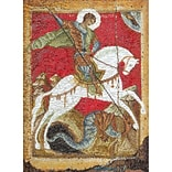 Multicolor 13.5x8.75 St. George & The Dragon On Aida Counted Cross Stitch Kit