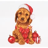 Thea Gouverneur TG730A Multicolor 12.25 x 11.75 Counted Cross Stitch Kit, Christmas Puppy On Aida