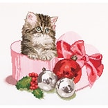 Thea Gouverneur TG731A Multicolor 12.25 x 11.75 Counted Cross Stitch Kit, Christmas Kitten On Aida