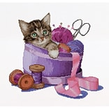 Multicolor 12.25x11.75 Counted Cross Stitch Kit, Sewing Basket Kitten On Aida