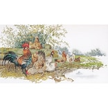 Thea Gouverneur TG2038A Multicolor 26.75 x 14.5 Chickens On Aida Counted Cross Stitch Kit