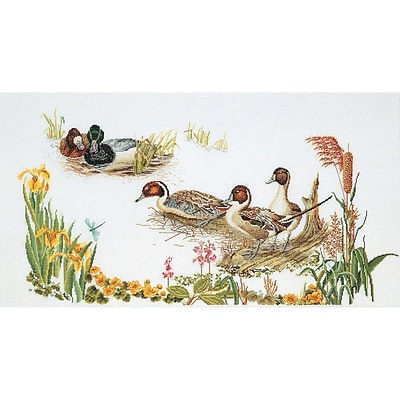 Thea Gouverneur TG2064A White 25.5 x 13.5 Ducks On Aida Counted Cross Stitch Kit