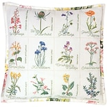 Thea Gouverneur TG2074A White 16.13 x 16.13 Wild Flower Cushion On Aida Counted Cross Stitch Kit