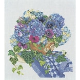 Thea Gouverneur TG3025A Multicolor 16.5 x 14.5 Hydrangea-Anemone On Aida Counted Cross Stitch Kit