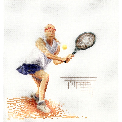 Thea Gouverneur TG3031A Multicolor 6.75 x 6.25 Counted Cross Stitch Kit, Tennis