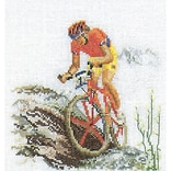 Thea Gouverneur TG3035A Multicolor 6.75 x 6.25 Counted Cross Stitch Kit, Mountain Bike