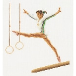 Thea Gouverneur TG3038A Multicolor 6.75 x 6.25 Counted Cross Stitch Kit, Gymnastics