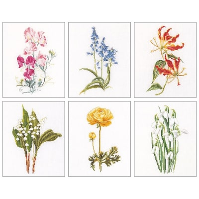 Thea Gouverneur TG3086A Multicolor 8x6.75 Floral Studies 6 On Aida Counted Cross Stitch Kit, 6/Set