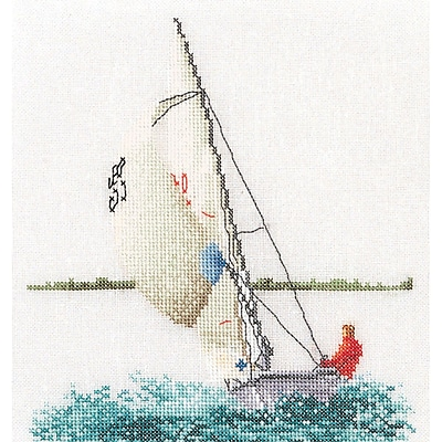 Thea Gouverneur TG3091A Multicolor 6.75 x 6.25 Counted Cross Stitch Kit, Sailing On Aida