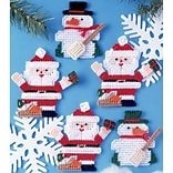 Tobin DW1224 Multicolor Santa & Snowman Ornaments Canvas Kit, 5/Set
