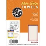 Aunt Marthas PKMAR White with Maroon Stripe Towel, 3/Pack