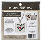 Dimensions 72-74075 Multicolor 1 Square Heart Pattern Metal Bezel Jewelry Embroidery Kit