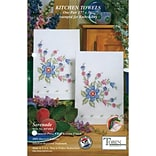 Tobin 2640 64 White 30 x 17 Serenade Stamped Kitchen Towels For Embroidery, 2/Pack