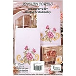 Tobin 2640 79 White 30 x 17 Floral Scroll Stamped Kitchen Towels For Embroidery, 2/Pack