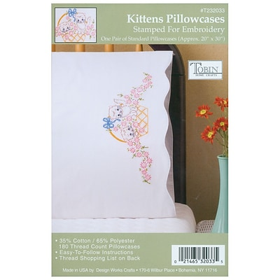 Tobin T232033 White 20 x 30 Kittens Stamped Pillowcase For Embroidery, 2/Pack