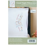 Tobin T232045 White 20 x 30 Good Night Stamped Pillowcase For Embroidery, 2/Pack