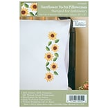 Tobin T232051 White 20 x 30 Sunflower Yo-Yo Stamped Pillowcase For Embroidery, 2/Pack
