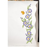 Tobin T232088 White 20 x 30 Morning Glories Stamped Pillowcase For Embroidery, 2/Pack