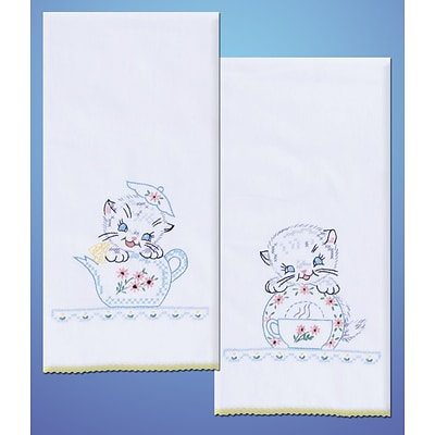 Tobin T264102 White 17 x 30 Kittens Stamped Kitchen Towels For Embroidery, 2/Pack