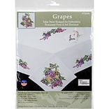 Tobin 1485174N White 17 x 17 Grapes Stamped Napkins Kit for Embroidery, 4/Pack