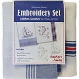 Dunroven House 200-108 We with Be Stripes 28x20 Anchors Away Kitchen Stitches Embroidery Set, 2/ST