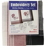 Dunroven House 200-110 White with Red Stripes 28x20 Roosters Kitchen Stitches Embroidery Set, 2/ST