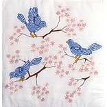 Tobin T288044 18 x 18 Blue Birds Cotton Stamped Quilt Blocks, 6/Pack