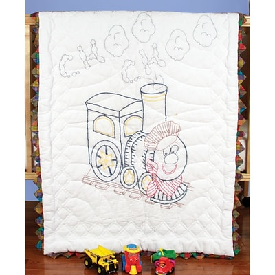 Fairway 92611 Multicolor 50 x 36 Stamped Baby Quilt Top, Train