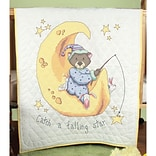 Fairway 92615 Multicolor 50 x 36 Stamped Baby Quilt Top, Catch A Falling Star