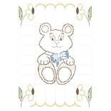 Fairway 92617 Multicolor 50 x 36 Stamped Baby Quilt Top, Teddy Bear