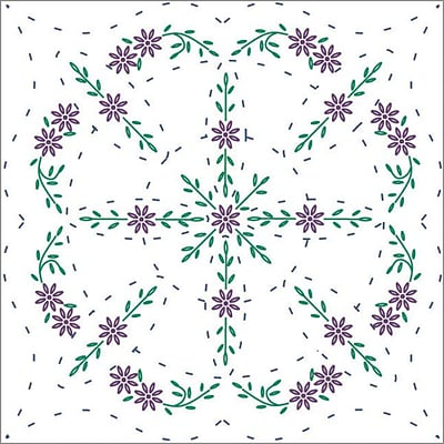 Fairway 98298 18 x 18 Easy Lazy Daisy Stamped Quilt Blocks, 6/Pack