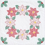 Jack Dempsey 732 642 Multicolor Poinsettias 18 x 18 Stamped White Quilt Blocks , 6/Pack