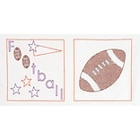 Jack Dempsey 744 841 14 x 14 Stamped White Football Themed Quilt Blocks, 6/Pack