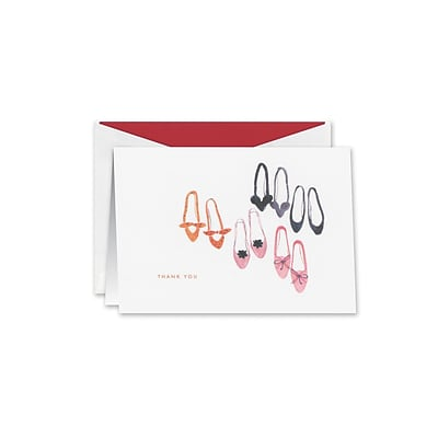 William Arthur Shoe Soiree Thank You Notes, White, 3.75 x 5.12 inch, 10/Box