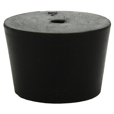 Midland Scientific Inc. Rubber Stopper with 1-hole; Black, Size 7, 14/lb