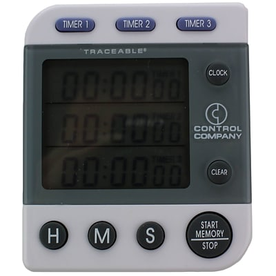 Control Company Traceable Three-Line Alarm Timer; 100 Hours